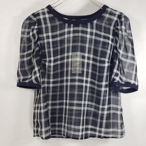 A New Day Plaid Blue Short Sleeve Sheer Top Sz M
